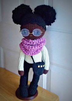 Crochet Doll, African American Doll with Afro Puffs #brown doll, #crochet doll, #natural hair,