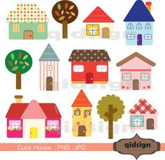 Cute House Clipart, Personal and Commercial Use,Digital clipart, INSTANT…