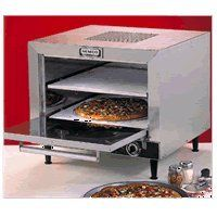 NEMCO Square Double Deck Countertop Brick Pizza Oven (2) removable 19 square stone decks. Tubular heating elements with thermostatic controls 300°-700°. 60 minute bell timer. Brushed stainless steel construction front, top and sides.  #Nemco #Kitchen