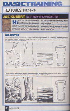 Scan from Wizard Magazine 148. Basic Training: Part 6 of 6 Joe Kubert shows how to do textures. p104