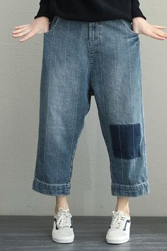 7b5ece064ab77 Women Blue Cotton Casual Denim Pants Loose Harem Jeans Q1933 Harem Jeans