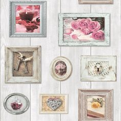 Wallpaper & Accessories Wood Natural Shabby Chic Rustic Home Sweet Home Floral Feature Wallpaper 102566 & Garden Wood Effect Wallpaper, Feature Wallpaper, Modern Wallpaper, Home Wallpaper, Girls Bedroom Wallpaper, Luxe Decor, Shabby Chic Homes, Pink Roses, Picture Frames