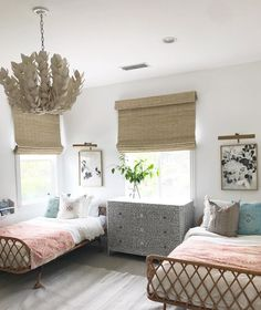 Pastel girls room with rattan twin beads, matchstick blinds, and modern art prints - Children Room Ideas & Decor - BECKI OWENS- 10 Fresh Kid Bedroom Inspirations Girls Bedroom, Bedroom Decor, Childs Bedroom, Bedroom Lamps, Wall Lamps, Bedroom Lighting, Bedroom Inspo, Bedroom For Twins, Bedroom Inspiration