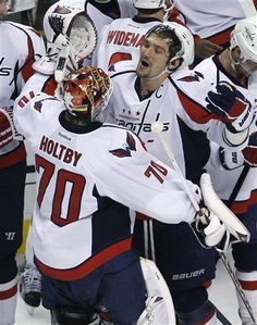 Alex Ovechkin and Braden Holtby on 4/25/12
