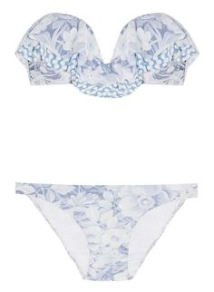 Our favorite poolside getup - Confetti printed bandeau bikini by Zimmerman