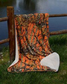 Orange Camo 50x70 Sherpa Mink Throw Style Blanket Free Shipping!