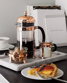 The signature dome-topped Bodum French press coffee maker takes on a beautiful copper-plated finish in this classic plunger-style brewing method revered for producing fresh coffee with rich, full-bodied character. Fresh Coffee, Coffee Love, Coffee Break, Photo Café, Coffee Shop Aesthetic, Turkey Burger Recipes, Coffee Bar Home, French Press Coffee Maker, Coffee Photos
