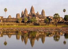 Angkor Wat in Siem Reap, Cambodia is the largest Angkorian temple. It was constructed as a Hindu monument and later dedicated to Buddha.