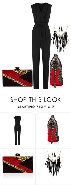 """""""Black Jumpsuit"""" by carlafashion-246 ❤ liked on Polyvore featuring Jaeger, Christian Louboutin, Edie Parker and Akira"""