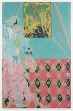 From New Museum, Chris Ofili, Ovid-Desire (2011-2012), Oil, pastel, and charcoal on linen, 122 × 78 3/4 in
