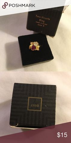 Avon two hearts ring gold ruby red diamond Avon two hearts ring gold ruby red diamond Avon Jewelry Rings