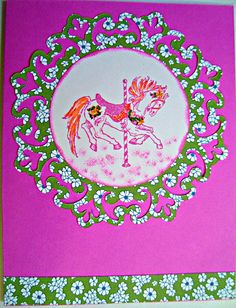 Carousel horse pink hand made card by Wcards on Etsy, $3.00