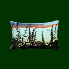 Tall Grasses at Sunset Lumbar Throw Pillows