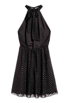 Chiffon halterneck dress - Black - Ladies | H&M GB