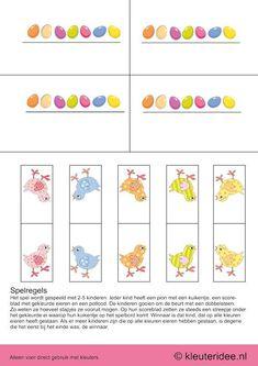 Het lente & kuiken spel voor kleuters, pionnen en scoreblaadjes,  kleuteridee.nl , The spring & chick game for preschool , pawns, free print...