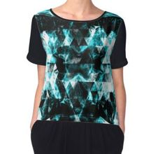 Electrifying blue sparkly triangle flames Women's Chiffon Top by #PLdesign #geometric #sparkles #fashion