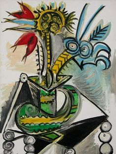 """Pablo Picasso - """"Vase of flowers on a table"""". 1969"""