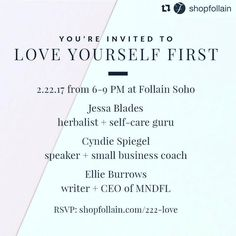 YOU IN NYC? COME HANG WITH ME THIS WEDNESDAY.  - Speaker Announcement - Join @jessablades @cyndiespiegel and @ellieburrows of @mndflmeditation this coming Wednesday 2/22 at #FollainSoho to Love Yourself First. More info  RSVP at http://ift.tt/2kJYCjg or visit our events page. We look forward to seeing you there!