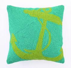 Green Anchor Hook Pillow