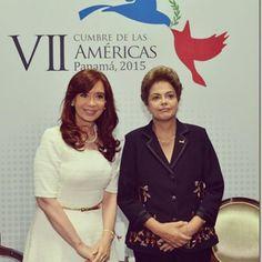 @cfkargentina con #Dilma en la Cumbre de las Américas en #Panamá