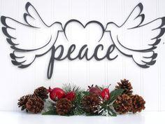 Christmas Doves Peace Metal Sign - Silver Vein Texture Christmas Decor. $24.95, via Etsy.