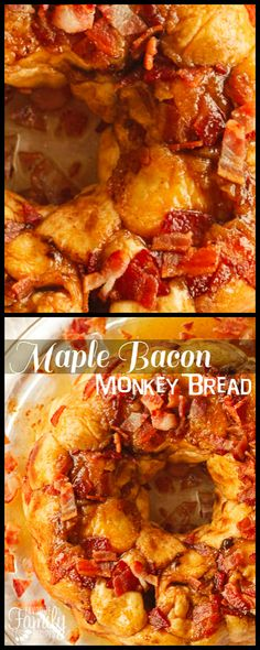 This Maple Bacon Monkey Bread is SO deliciously gooey and good! The soft dough bites are drenched in a yummy maple syrup sauce and crispy pieces of bacon. via @favfamilyrecipz