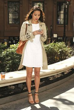 Jamie Chung spring street style with white dress and trench coat