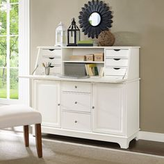 Secretary Desk With Storage Drawers White Drop Front Writing For Home Office