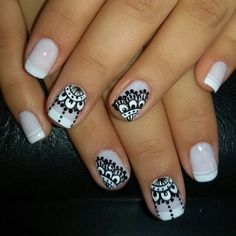 Uñas Nail Polish Designs, Nail Art Designs, Mandala Nails, Nagellack Trends, Lace Nails, French Tip Nails, Nail Decorations, Nail Stamping, Nail Arts