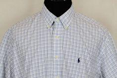 RALPH LAUREN Blake Mens Blue Plaid Short Sleeve Button Front Shirt Sz 2XL #RalphLauren #ButtonFront