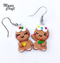 Tendance Joaillerie 2017   Polymer clay Fimo earrings gingerbread men gingerbread man cookies earrings