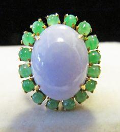 JP: Vintage Translucent Green Lavender Jade Gold Ring