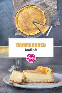 Traditioneller, badischer Rahmkuchen mit Hefeteig-Boden und cremiger Rahmschicht. 😍 Mega cremig und super lecker! Probier ihn unbedingt mal aus, der darf auf keiner Kuchentafel fehlen. 😍 #sallyswelt #sallys #badischerrahmkuchen #rahmkuchen #rahmkuchenrezept #rahmkuchenhefeteig #badischerrahmkuchen #creamcake #creamcakerecipe #kuchen #kuchenrezepte #einfacherkuchen #cake #cakerecipes #cremigerkuchen #creamycake #easycake #easycakerecipes #klassischerkuchen Cupcakes, No Bake Cake, Sweet Recipes, Camembert Cheese, Pie, Sweets, Baking, Desserts, Muffin