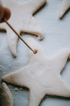The Best Salt Dough Ornaments Recipe Holiday decor hint Recipe For Christmas Ornaments, Christmas Decorations For Kids, Homemade Ornaments, Holiday Crafts For Kids, Homemade Christmas, Diy Christmas, Ornaments Recipe, Diy Ornaments, Christmas Lights