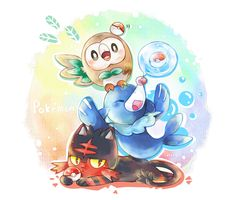 Pokemon Sun & Moon Starters I am stuck between Rowlet and Popplio. I can wait to see their final evolution.