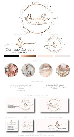 Rose Gold Logo, Branding Package, Rose gold Branding kit Logo Design Premade Branding Package, stamp, Photography Logo, watermark by PeachCreme on Etsy