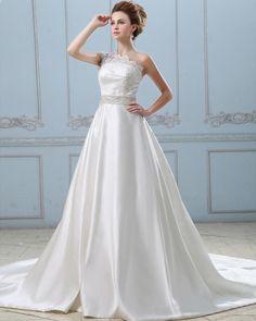 Bowknot Back One Shoulder Satin Lace A-Line Wedding Dress  Read More:     http://www.weddingsred.com/index.php?r=bowknot-back-one-shoulder-satin-lace-a-line-wedding-dress.html