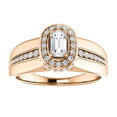 14kt Rose Gold 5x3mm Center Emerald Genuine Diamond (Color GHI, Clarity SI2-SI3)or 16 Halo Top Diamonds,22 Halo Side Diamonds (Color I-J, Clarity I1) and 16 Accent Diamonds (Color I-J, Clarity I1) Engagement Ring...(ST122344:1528:P).! Price: $1299.99
