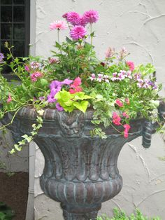 This website has beautiful ideas for urn planting for all seasons