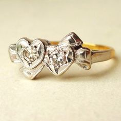 Antique Diamond Ribbon Bow & Hearts Ring Art Deco by luxedeluxe