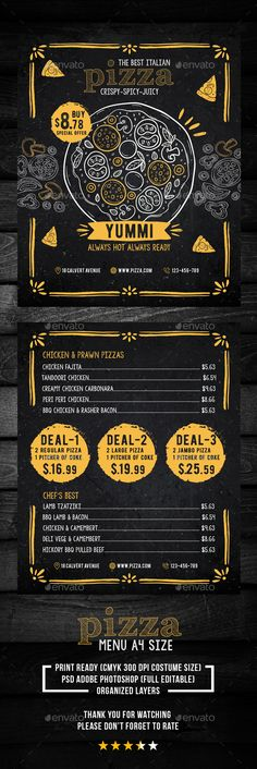 Buy Pizza Food Menu by ichoomi on GraphicRiver. Simple style and unique Pizza menu. Size + Bleed area PSD File CMYK 300 dpi Full Editable Text Free fonts used Fon. Menu Pizza, Pizza Menu Design, Pizza Food Truck, Pizza Logo, Restaurant Poster, Restaurant Menu Template, Restaurant Menu Design, Pizza Restaurant, Restaurant Service