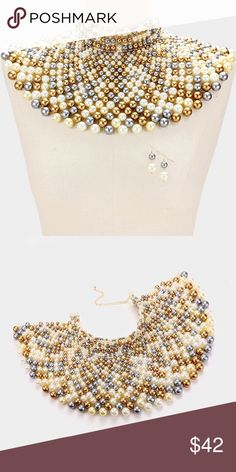 "Multi Color Cleopatra Bib Armor Necklace Set Color : Gold, Multi Theme : Pearl  Necklace Size : 13"" + 4"" L Decor Size : 6"" L Earrings Size : 1.75"" L Jewelry Necklaces"