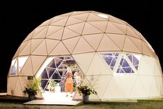 Dome Guys hosts a 60' private showcase dome for local and regional needs. It has been rented for private events, such as weddings, birthdays, art installations, concerts, dance performances, lectures, meetings, and many other applications.