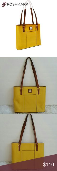 """Dooney & Bourke Pebble Leather Small Lexington Sho Preown. In good condition.some flaws. Color sunset dooney & Bourke Pebble Leather Small Lexington Shopper.Measures approximately 12""""W x 10-1/4""""H x 3-1/2""""D with an 11"""" strap drop; weighs approximately 1 lb, 9oz Body/trim 100% leather; lining 100% cotton or 65% polyester/35% cotton Dooney & Bourke Bags Shoulder Bags"""