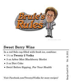 Sweet Berry Win Cocktail Recipe - #Vodka, Blackberry Merlot Arbor Mist, Diet Coke