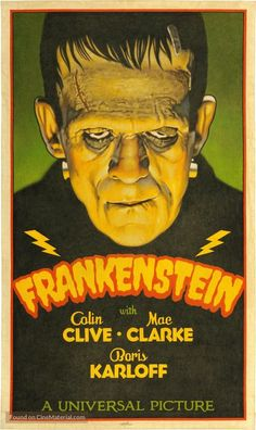 High resolution movie poster image for Frankenstein Horror Movie Posters, Old Movie Posters, Classic Movie Posters, Movie Poster Art, Classic Monster Movies, Classic Horror Movies, Classic Monsters, Classic Halloween Movies, Retro Horror