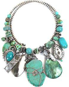 Treska Women's Mykonos Chunky Dangle Coil Necklace Turquoise One Size Diy Jewelry, Women Jewelry, Jewelry Making, Jewellery, Turquoise Jewelry, Turquoise Bracelet, Body Adornment, Trendy Necklaces, Mykonos