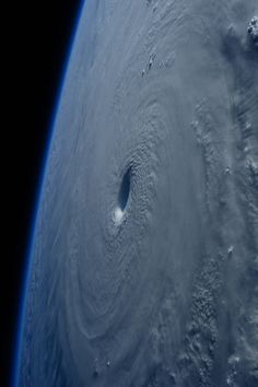 Super typhoon Maysak on March 31, 2015, captured in this image by ESA Astronaut Samantha Cristoforetti while flying over the weather system on board the International Space Station. Space Travel, Beautiful Space, Solar System, Outer Space, Cosmos, Wild Weather, Earth From Space, Mother Earth, Mother Nature