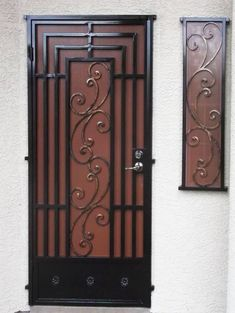 Traditional Security Door Gallery All - Artistic Iron Works - Ornamental Wrought Iron Specialists Iron Front Door, Iron Doors, Metal Gates, Wrought Iron Gates, Front Door Design, Gate Design, Wrought Iron Security Doors, Wood Plank Ceiling, Door Grill
