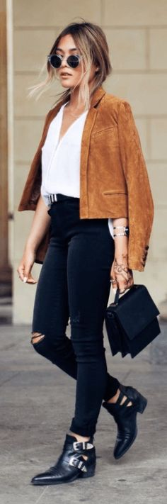 Black jeans, white tee, suede jacket, ankle boots